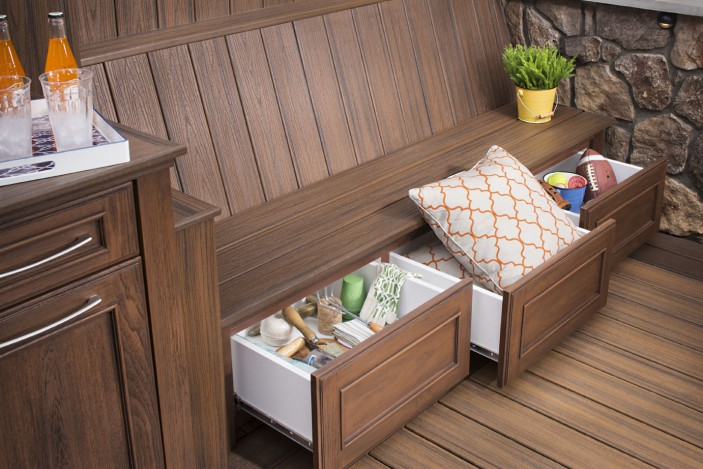 Trex Outdoor Storage features bench drawers to hold pillows, sports equipment and more